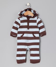 Look what I found on #zulily! Brown & Light Blue Stripe Hooded Playsuit - Infant by Leveret #zulilyfinds