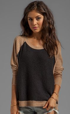 Free People Tabbard Pullover Sweater in Black/Camel Combo[nice ribbing detail on raglan sleeve, could do ueven lengths of ribbing] Cute Fashion, Fashion Beauty, Fashion Outfits, Fashion Ideas, Fall Winter Outfits, Autumn Winter Fashion, Online Shops, Revolve Clothing, Swagg