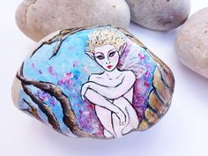 Hand Painted Stone-lonely Elf