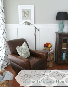 Cozy Reading Corner: revamp a small corner space with beautiful accessories that boost your mood. A wonderful swing arm #lamp, barrel side table and throw pillow from @HomeGoods bring layers, texture and warmth to the space. #sponsored | TheTurquoiseHome.com