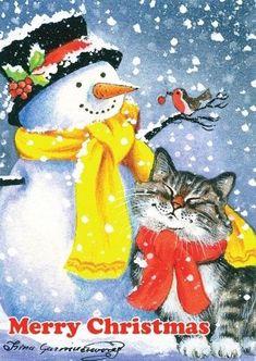 VERY RARE Good to Have Friends Cat & Snowman Garmashova Russian modern postcard Christmas Card Images, Vintage Christmas Images, Christmas Cats, Christmas Greeting Cards, Christmas Pictures, Christmas Greetings, Merry Christmas, Christmas Animals, Xmas
