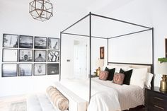 Master Bedroom Design Canopy Beds, collage walls, cage light fixture, canpoy beds