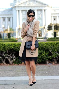 This Time Tomorrow: under wraps Ladylike Coat, Dress, Purse and Valentino Rockstud Shoes