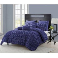 Vcny Maya Pinch Pleat Comforter Set with Euro Shams, Multiple Colors, Blue