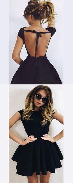 5016ea288b13  Cute  ALine  HomecomingDresses  Black  BallGown  Backless  Short   PromDresses