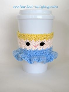 FREE crochet Cinderella Coffee Cup Cozy pattern by The Enchanted Ladybug