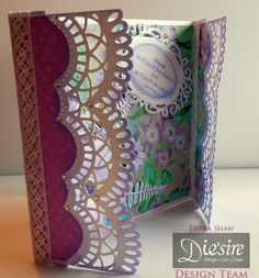 Debra Shaw - Create a Card Wrap around Dies: Beatrice - Downton Abbey Ornate Mirror die - Die'sire Poinsettia Die - Die'sire Wildflower Trio die - Sara Davies Signature Collection Papers from free CD - Easy Crystals - Collall All Purpose. 3D Gel and Tacky glue - #crafterscompanion