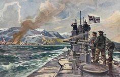 Willy Stöwer - Deutsches U-Boot im Eismeer, Beschießung von Alexandrowsk
