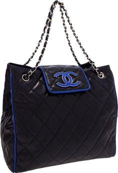 Chanel Navy Lambskin Leather Tote Bag with Royal Blue Trim