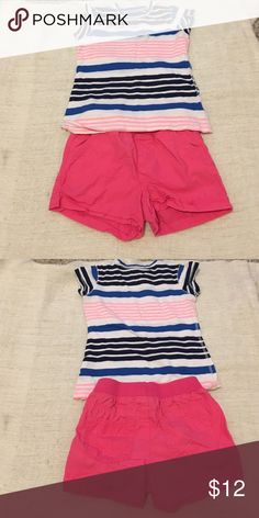 Kids stripe top and shorts Pink blue and white stripe top size 6/7 and pink shorts size 6. Other