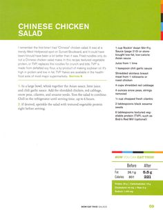 Chinese Chicken Salad PER SERVING: 221 cal 5.5g fat 25g protein 19g carbohydrates 44mg cholesterol 5g fiber 1424mg sodium