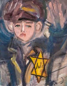 """This #Yingele would make the perfect #dedication for my  COLORS OF THE HOLOCAUST Exhibition Opening May 11th in #Chelsea  @ The Amsterdam Whitney Gallery  YELLOW STAR BOY #oiloncanvas  16"""" x 20"""" Www.tobygotesmanschneier.com  #art #oilpaintings #Manhattan  #jewishart #holocaustmuseum  @holocaustmuseum"""