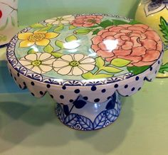 Damariscotta Pottery- Cakestand painted by Juliana- Pottery Shop, Slab Pottery, Ceramic Pottery, Cake Dome, Cake And Cupcake Stand, Cake Stands, Pottery Painting, Ceramic Painting, Pedestal