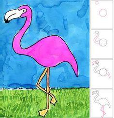 Flamingo · Art Projects for Kids Art 2nd Grade, Animal Drawings, Art Drawings, Drawing Animals, Drawing Art, Classe D'art, Flamingo Art, Drawing Projects, School Art Projects