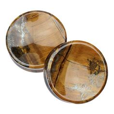 """2"""" Tiger Eye Concave Plugs by Evolve Body Jewelry #2"""" #Double-Flare #Evolve"""