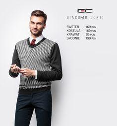 Stylizacja Giacomo Conti: sweter z geometrycznym wzorem Cesare 14/100 SR #giacomoconti