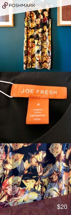 joe fresh dress; perfect for fall Machine washable and the print is gorgeous. Never been worn, but I had removed the tags. Throw on tights and booties and you found your perfect dinner dress to dress down or up! Joe Fresh Dresses