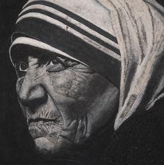 Portrait Mere Teresa - Tableau de Sable - 80x80cm - Peinture,  80x80x1,5 cm ©2013 par David Cadran - #sandart #tableaudesable #sand #sandartist #artportrait
