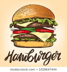Find Big Burger Hamburger Hand Drawn Vector stock images in HD and millions of other royalty-free stock photos, illustrations and vectors in the Shutterstock collection. Burger Restaurant, Burger Bar, Illustration Sketches, Food Illustrations, Graphic Illustration, Hamburger Drawing, Ocean Drawing, Big Burgers, Cafe Logo