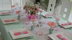 Déco de table rose et vert d'eau, très romantique
