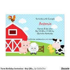 Farm Animal Birthday Invitation New Farm Birthday Invitation Boy Blue Barnyard Farm Animal Birthday, 1st Boy Birthday, Pink Birthday, Happy Birthday, Boy Birthday Invitations, Birthday Invitation Templates, Birthday Template, Blue Birthday Parties, Birthday Party Themes