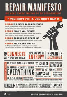 Self-Repair Manifesto - iFixit Brand Manifesto, Learned Helplessness, High School Curriculum, Money Cant Buy Happiness, Circular Economy, Busy Life, Perfect World, Fix You, Save The Planet