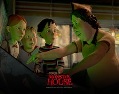 HALLOWEEN HOUSES | 2006 monster house wallpaper 005-1- Halloween House, Halloween Themes, Jon Heder, Kathleen Turner, Catherine O'hara, Monster House, Scary Monsters, Disney Xd, Cartoon Icons