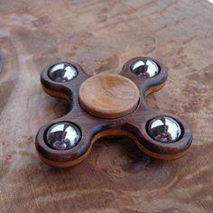 X Quad EDC Spinner Fidget toy Walnut Cherry Stabilized Wood |
