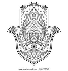 "Similar Images, Stock Photos & Vectors of Hamsa hand drawn symbol with lotus. Decorative pattern in oriental style for interior decoration and henna drawings. The ancient sign of ""Hand of Fatima"". Hamsa Design, Hamsa Tattoo Design, Tattoo Designs, Colouring Pages, Coloring Books, Free Vector Art, Vector Vector, Image Vector, Oriental Fashion"
