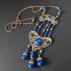 Vtg Large Art Deco Czech Faux Lapis Lazuli Blue Glass Necklace Ornate Filigree | eBay
