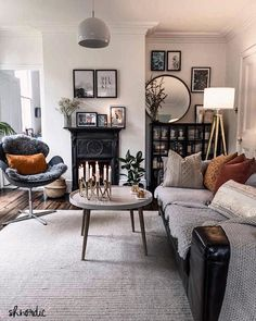 Monochrome living room with industrial metal cabinet and cast iron fireplace. Click through to see product details. Posts by shnordic Scandi Living Room, French Country Living Room, Cozy Living Rooms, Copper Living Room Decor, Scandi Bedroom, Salons Cosy, Cosy Home, Home And Deco, Bedroom Styles