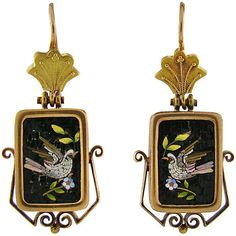 Early Victorian Yellow Gold Micromosaic Dove Earrings ❤ liked on Polyvore featuring jewelry, earrings, gold, yellow gold earrings, yellow gold jewelry, gold jewellery, gold earrings and gold earrings jewelry