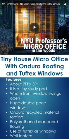 Tiny House Micro Office With Ondura Roofing and Tuftex Windows   Tiny Quality Homes