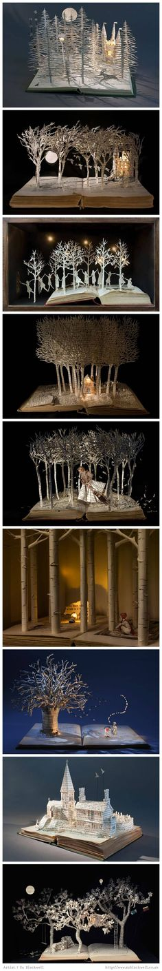 Book sculptures by British Artist Su Blackwell.