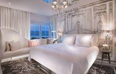 Bedroom ideas decor |  Drapery wall panel art by Philippe Starck at SLS Hotel South Beach.