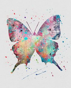 Butterfly watercolor Print Nature Art Art Print by Myaquamarine Butterfly Painting, Butterfly Watercolor, Butterfly Art, Watercolor Print, Watercolor Paintings, Butterfly Stencil, Watercolor Splatter, Splatter Art, Beautiful Butterflies