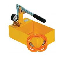 """Obart - PT Pressure Test Pump by Obart Select Product   The PT models are pressure test pumps for leak testing in water pipe systems. Suitable for pressurised plastic pipe plumbing and central heating systems. The reservoir is in powder coated steel with ½"""" male BSP connectors, heavy duty handle and supplied complete with a connector hose. Not suitable for gas pipe testing."""