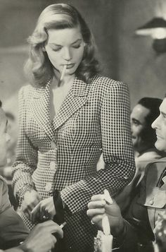 """Lauren Bacall in """"To Have and Have Not"""" 1944."""