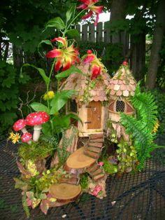 Magical OOAK FAIRY HOUSE multi level Cottage dollhouse by J. McLaughlin