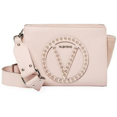 Valentino by Mario Valentino Women's Kiki Rock Studded Crossbody Bag -... ($310) ❤ liked on Polyvore featuring bags, handbags, shoulder bags, pink, pink cross body purse, studded shoulder bag, shoulder strap bags, pink shoulder bag and cross-body handbag
