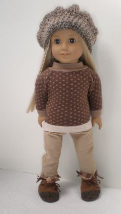 Brown Top Tan Skinny Jeans Hat Boots fits American by dollupmydoll, $20.00