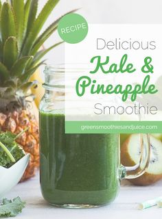 Naturally sweet pineapple pairs wonderfully with kale… and the best part of this smoothie might just be the intense, bright green colour!  Pineapple is a great fruit to use when you're adding a lot of strong flavoured superfoods to your smoothie.   #greensmoothie #smoothie #greenjuice #healthyfood #rawfood #healthyliving #eatwell #livewell