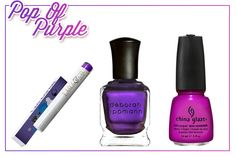 purple for spring and summer 2012.    Laqa & co polish pen in Blurple, Deborah Lippman private dancer, China Glaze Beach Cruiser
