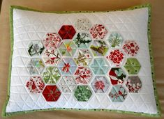 a hexagon Christmas pillow, traditional color with a modern twist!