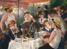 """Renoir, """"Almuerzo de Remeros"""".  Es impresionante como el artista plasma el espíritu de un grupo de amigos conversando alegremente después del almuerzo."""
