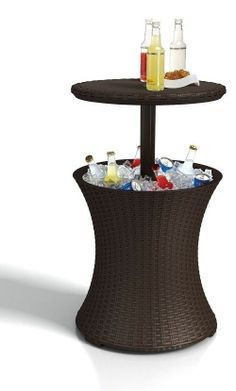 Keter Rattan Cool Party Patio Bar, Ice Chest/Round Table in One, BBQ/Pool Fun! #patiobar #party