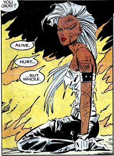 Storm (Ororo Munroe) is a fictional character that appears in a number of comic books published by Marvel Comics. The character first appeared in Giant-Size X-Men #1 (May 1975), and was created by writer Len Wein and artist Dave Cockrum. Best known as a longtime member and sometimes leader of the X-Men, Storm is the former queen consort of Wakanda, a title once held by marriage to King T'Challa, better known as the Black Panther. #superheroes #X-Men
