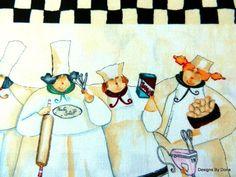Fabric Chefs N Stripes one half yard by DesignsByDona on Etsy, $5.50