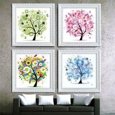 Diamond embroidery diy 5d tree rhinestone four seasons pachira diamond painting cross stitch home decor wall sticker gift