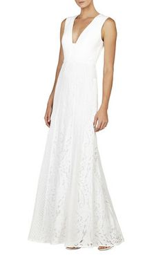 Elisia Sleeveless Lace-Blocked Gown. Could be a pretty dress for a beach vacation or wedding